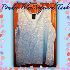 Never be blue in this....Baby Blue Sequin Tank If you are a blue fan like me...This tank top is for you! Its covered in clean sequine on a baby blue tank top and will shine for miles away! It's sized at a XL and I'm a XXL and it was short and tighter on me! Best for XL or large! This tank is a must have for a blue lover like me! Tried on but never worn! Measures  UNSTRETCHED :  armpit to armpit 20 in. , Armpit to bottom 16 in. Top of tank to bottom 22 in.  STRETCHED: Arm to Arm 24 in. , Arm…