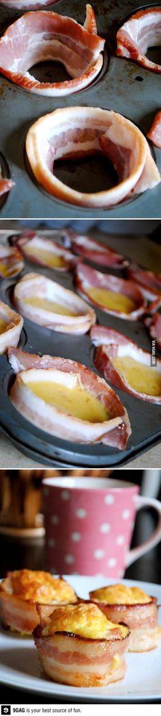 wow #breakfast idea - (I would use turkey bacon to Avoid pork)