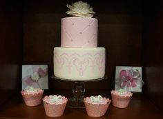 Why not opt for a smaller two tiered cake and cupcakes?!