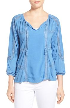 Lucky Brand Lace Trim Peasant Blouse