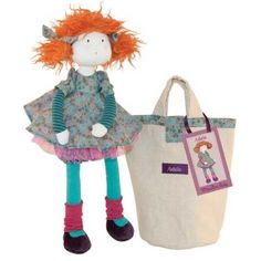 Sweet Adele is part of the gorgeous Les Coquettes range of rag dolls from Moulin Roty. She has a beanie bottom for a little added weight to help her sit still! Adele comes in her own soft carry bag with piping that matches her dress #moulinroty #dolls