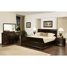 ABBYSON LIVING Kingston 5-piece Espresso Sleigh King-size Bedroom Set