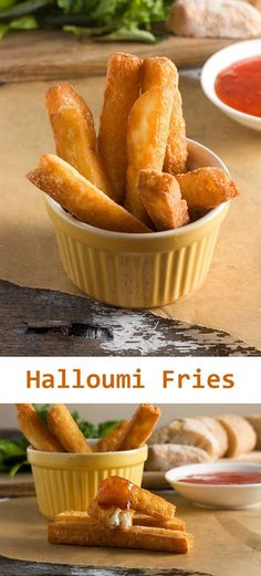 Crispy halloumi fries (and dips!) A different sort of crunchy fries … halloumi fries! You won't be disappointed … just don't forget the sour cream and sweet chili sauce for dipping! Low Carb Recipes, Vegetarian Recipes, Cooking Recipes, Cooking Ideas, Healthy Starter Recipes, Vegetarian Canapes, Cooking Ware, Cooking Eggs, Oven Cooking