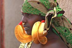 Woman with golden earrings in Senossa, province of Mopti, Mali Jan 2011