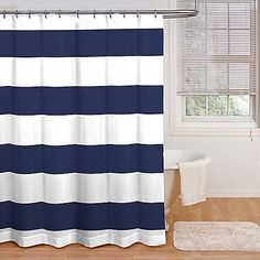 Refresh your bathroom with this bold cabana stripe shower curtain, in a classic, cool navy and white color combo. ONly $19.99 at bed bath and beyond, but probably should use gray and white bold stripes because it will be easier to change up the decor to match and it's not as bold or as dark.