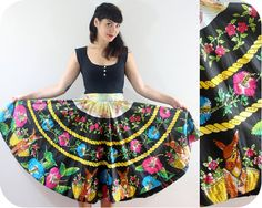 Reserved // 1950s MEXICAN CIRCLE SKIRT - Vintage Hand Painted & Sequinned Novelty Print Donkeys and Flowers - small