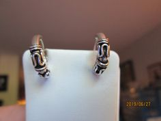Stunning Vintage Antiqued Wire Wrapped Solid 925 Sterling Silver Hoop Earrings, Wt. 2.9 Grams by TamisVintageShop on Etsy