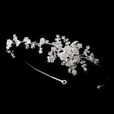 Clear Headpiece 9952 Silver Clear Flower Vine