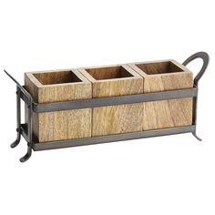 Napa Valley has long stood for high craftsmanship and honest value. This new utensil caddy combines that handsome, handcrafted esthetic with sturdy design. With three sheesham wood boxes for knives, forks and spoons, and a cast iron carrier, this handcrafted caddy is perfect for impromptu service on the patio in summer or by the fireplace in winter.
