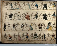 The dance of death modernised. Coloured etching by I. Cruikshank, 1808, after G. M. Woodward, ca. 1795/1797