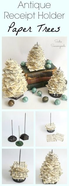 Antique iron receipt holders...paper spikes...bill pokes, whatever you call them, look like miniature, vintage Christmas tree stands. So, why not tear up some paper- vintage sheet music for me- and repurpose them into charming Christmas tree holiday decor? So simple to do and the end result is just perfection. Super easy DIY upcycle craft from #SadieSeasongoods / www.sadieseasongoods.com