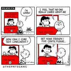 #thepntsgang #pnts #peanuts #schulz #charliebrown #lucy #psychiatrichelp #lonely #loneliness #friends #fivecentsplease