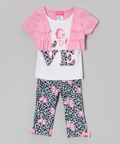 Love this Pink & White 'Love' Ruffle Shrug Set - Infant & Toddler by Penny M on #zulily! #zulilyfinds