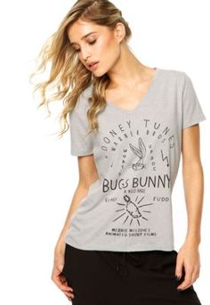 Blusa Fashion Comics Bugs Bunny Cinza
