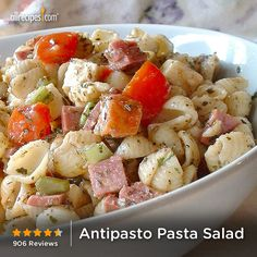 "Antipasto Pasta Salad | ""Wow, this was excellent! The asiago cheese was perfect in this recipe. I added Artichokes and skipped the peppers since I'm not a fan of peppers. Thank you for sharing this recipe!"""