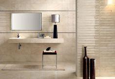faïence salle de bains en beige clair 3D, design Marmo D