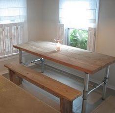 Dieser Artikel ist für eine industrielle Brett oben Holz und Rohr Bein Tisch in verschiedenen Größen. Die Rohr-Beine kann galvanized(silver) oder schwarzem Eisen. Ich empfehle die verzinkt für den Außenbereich. $25 Addierer für verzinkten Rohrleitungen. Bitte lassen Sie uns wissen
