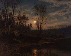 ~ Amaldus Clarin Nielsen (1838-1932), Maaneopgang ved Dybvandet - Mandal (Moonrise by Dybvandet - Mandal), 1895