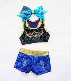 Frozen Anna Inspired Workout Set Includes Sports Bra, Shorts and Bow