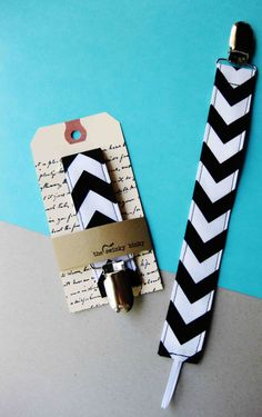 """Fabric Pacifier Clip """"Black Chevron"""" For a Soothie,Gumdrop or Button Style Pacifiers Gender Neutral"""