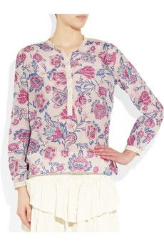 Etoile Isabel Marant Hector floral-print cotton and silk blend top from Net-A-Porter