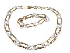 Vintage White Enamel Link Necklace  Bracelet Set by MadgesHatBox, $32.00