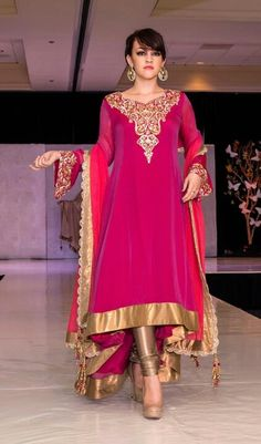 Pink and Gold Salwar Kameez. Pakistani Couture, Indian Couture, Pakistani Outfits, Indian Outfits, Churidar, Patiala, Salwar Kameez, Saris, Indian Attire