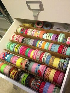 Teacher by trade, Mother by nature: DIY: Washi Tape Storage Ideas. Stored in a drawer with simple cardboard dividers