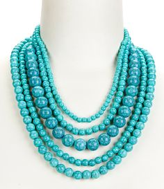 Turquoise:Anna & Ava Amy Beaded Multi-Strand Necklace