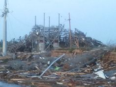 Near strip mall that was devastated.  This is 2 months, after the tornado struck.
