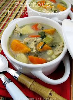 Farmhouse Chicken Chowder is packed with a colorful mélange of vegetables, herbs and tender chicken.