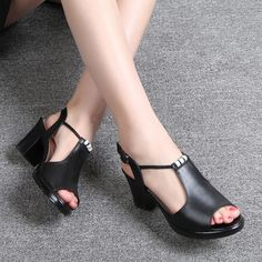 Genuine Leather Shoes Women's Sandals Peep Toe High Heels Real Leather Sandals Rhinestone Women's Shoes – Ninfa Patricia – Join in the world of pin Women's Shoes Sandals, Leather Sandals, Shoe Boots, Fancy Shoes, Pretty Shoes, Black Strappy Heels, High Heels, Bunion Shoes, Loafers For Women