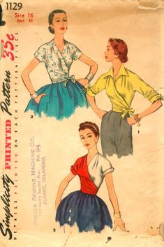 Simplicity 1129 Vintage Sewing Pattern Misses Wrap Blouse Retro Pattern, Vintage Sewing Patterns, Clothing Patterns, Vintage Dresses, Vintage Outfits, Vintage Tops, Vintage Style, 1950s Fashion, Vintage Fashion