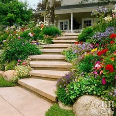 This Planting Guide Solves All of Your Sloped Garden Problems Steps convert a slope from inaccessible to inviting. Wide steps that meander or zigzag up a steep slope are easier to climb than those that escalate rapidly. Test Garden Tip: Begin building at Sloped Backyard Landscaping, Sloped Yard, Landscaping Tips, Landscaping Software, Arizona Landscaping, Landscape Design, Garden Design, Sloped Landscape, Landscape Stairs