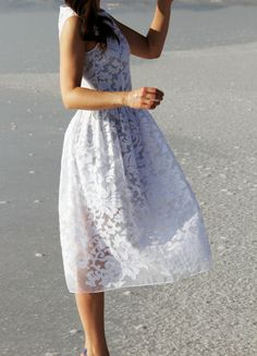Midi organza dress with grey cotton separate lining by NelliUzun-this designer uses the prettiest material