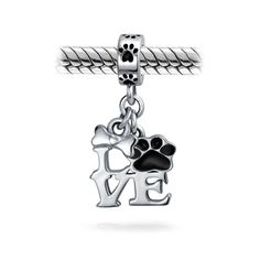 Sterling Silver 3D Fluffy Pet Kitty Cat Dangle Charm Bead For Bead Charm Bracelet