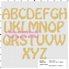 Uppercase Alphabet for cross stitch names with Minions - free cross stitch patterns by Alex Cross Stitch Alphabet Patterns, Cross Stitch Pattern Maker, Free Cross Stitch Charts, Cross Stitch Letters, Modern Cross Stitch Patterns, Cross Stitch Designs, Xmas Cross Stitch, Cross Stitch Samplers, Cross Stitching