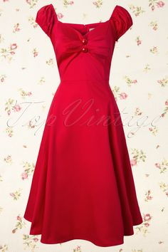 Collectif Clothing - 50s Dolores Doll swing dress red
