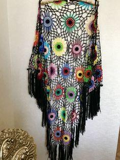 olorful Crochet Shawl | Boho Gypsy Shawl | Hippie Patchwork | All Season Fashion | Handmade |%100 cotton-merserized by fyboutique on Etsy https://www.etsy.com/listing/566146417/olorful-crochet-shawl-boho-gypsy-shawl