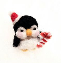 Needle Felted Wool Holiday Penguin with Santa Hat by PokeAround