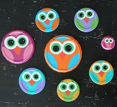 Jar Lid Owls | AllFreeKidsCrafts.com - could do with baby food jars and fill with dessert or goodies