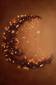 Moon and the stars.want to make some form of a crescent moon with sparkling~dangling stars. Moon Art, Moon Child, Stars And Moon, Sun Moon, Dark Moon, Fairy Lights, Hanging Lights, Illustration Art, Artsy