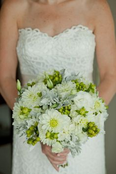 Gorgeous bouquet of mums, berries, and dusty miller {Jenifer Rutherford Photography}