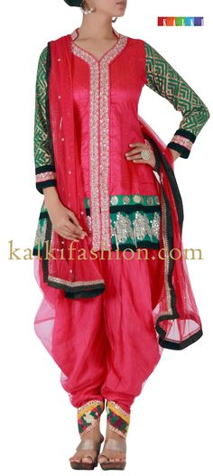 Buy it now   http://www.kalkifashion.com/pink-patiala-with-gotta-patti-and-sequence-work.html Pink patiala with gotta patti and sequence work