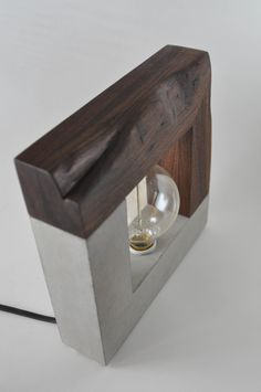 Large Handmade Concrete and Live Edge Walnut Wood Table Lamp #ConcreteLamp