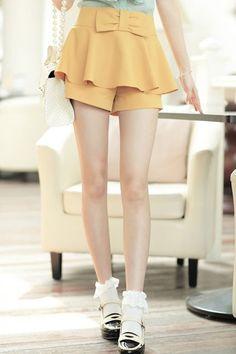 Elegant High Waistline Bowknot Embellished Flouncing Shorts OASAP.com $69