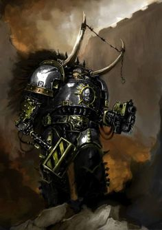 "captainblacklobster: "" The Iron Warriors were the IV Legion of the twenty original Space Marine Legions. Their Primarch is Perturabo. They were one of the nine legions which betrayed the Emperor. Warhammer 40k Art, Warhammer Fantasy, Space Marine, Space Fantasy, Fantasy Art, Texture Metal, Space Wolves, Power Hammer, Comic Books Art"