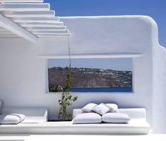 Designed in all-white Mediterranean style, this beautiful villa is located on the South-western point of Mykonos, small Greek island. With washed wooden floor and white interior and exterior you can truly soak that Mediterranean fragrance. Villa Design, Outdoor Balcony, Outdoor Spaces, Outdoor Living, Design Exterior, Interior And Exterior, Stone Exterior, Patio Design, Greece Resorts