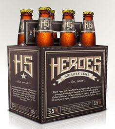 Heroes American Lager packaging designed by ArcadeBox Creative.
