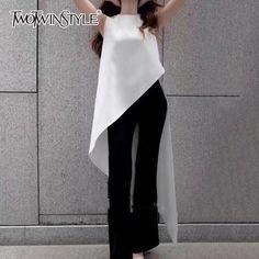 Chiffon Shirt For Women Sleeveless Asymmetrical Large Size Dovetail Shirts Female 2018 Summer Fashion OL Clothing White Sleeveless Blouse, Chiffon Shirt, Chiffon Blouses, White Blouses, Mode Outfits, Fashion Outfits, Womens Fashion, Fashion Clothes, Fashion 2018